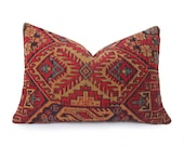 Southwestern Pillows, Cabin Style, CUSTOM For NANCY Rustic Lumbar Pillow Cover, 14x18 Oblong, Brick Red, Tribal SALE