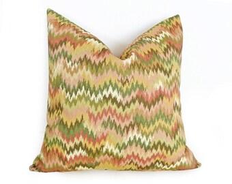 Pastel Ikat Pillows, Rose Pink Green Cream Cushion Covers, Colorful Ikat Pillow, Spring, Summer Modern Home Decor 12x18  Lumbar, 18x18