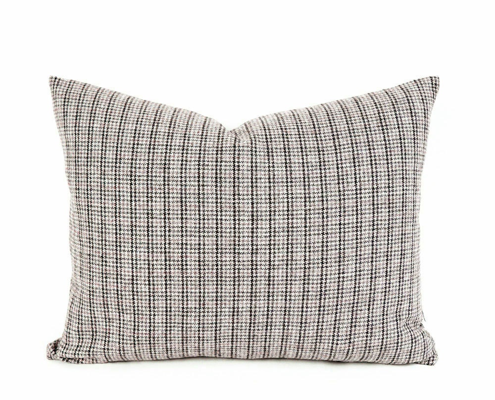 Brown Plaid Throw Pillow Wool Pillow Cover Small Scale Plaid