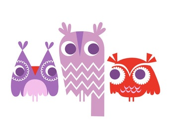 "4X6"" three owls giclee art print on fine art paper. lavender purple and red."