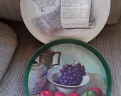 """Beautiful 1950s Mrs. Carver's Fruitcake Miniatures Tin """"Tray In Tin"""" With Gorgeous Lithographed Inner Serving Tray"""