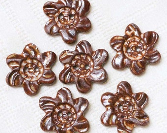 Windblown Flower Clay Buttons – Stoneware - Pottery - Clay - Ceramic - Handmade