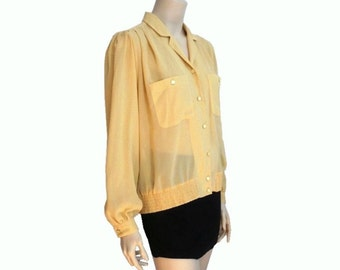 LUCIA 70s Vintage Yellow Semi Sheer Buttons up Blouse