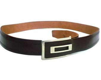 French Vintage Brown Leather Men Belt