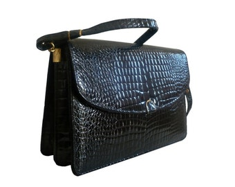French Vintage Black Crocodile Vegan Shoulder Bag / Handbag