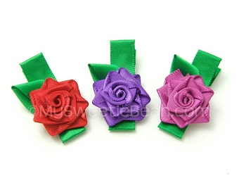 3 Satin Rose Clips, Handmade Satin Roses, Mini Rose Clippies for Baby, Toddler Girls Rose Hair Clips, Rose Clippy, Red Rose Barrette, Purple