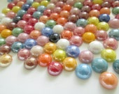 100 Round Electric Assorted Colors Glass Flat Back Cabochons Gems 8mm