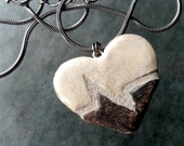 Beating Heart Necklace : Mosaic Tile Reversible Pendant, Black Gray and Off White