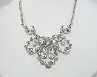 Clear Rhinestone Bridal Necklace, Mother of the Bride Jewelry, Statement Necklace, Rhinestone Jewelry, Unusual Jewelry, 1950's Jewelry