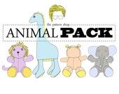Stuffed Animal Sewing Pattern Set | Giraffe | Elephant | Lion | Hippo