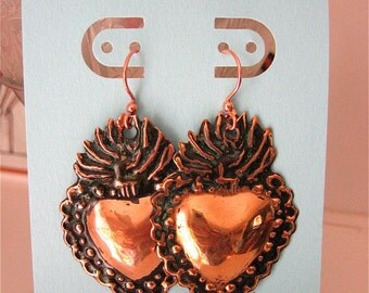 Med. Copper Patina SACRED HEART Intricate Milagro Earrings- Perfect gift for the one you love this holiday-1.5""