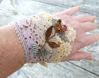 POMPADOUR Handmade in France dyed at home  cotton lace & net  flower bouquet  cuff