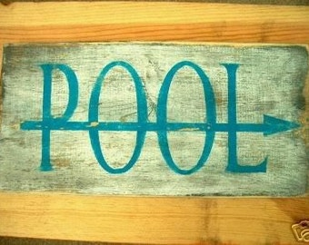 Primitive POOL Sign Cottage Beach Bungalow Beach House Distressed Shabby