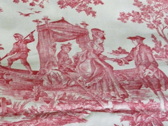 Red Toile Home Decor Fabric Yardage 3.75 Yds