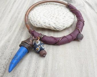 Silk Road Bangle - Purple Bracelet, Handmade Copper Bangle, Silk Wrapped, Boho, Gypsy Charm Bangle