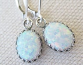White Opal Earrings, Antique Sterling Silver Lab Created Earrings, Silver Opal Earrings, Oval Opals, Opal Jewelry, Matching Sets