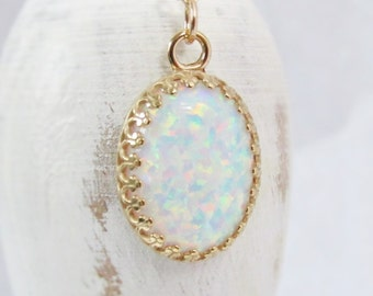 Large Gold Opal Necklace, Gold Opal Pendant, Oval Opal Necklace, White Opal Jewelry, Lab Created Opal, October Birthstone