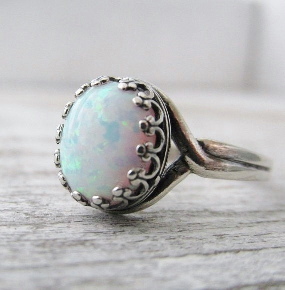 sterling silver opal ring october birthstone ring white opal