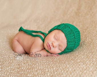 Newborn Knit Handmade Rounded Back Bonnet Made to Order