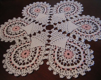 Pink and white table center, new hand crochet