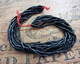 Antique Black Bugle Bead Size 2 Victorian Era SB1060
