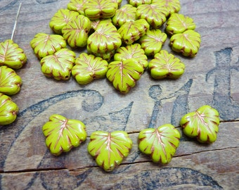 Czech Glass Maple Leaf Beads Chartreuse Green and Copper (8)