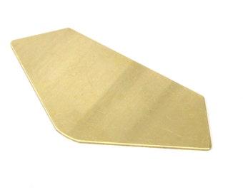 Brass Super Hero Shields, 2 Raw Brass Geometric Stamping Blanks (76x36.5mm) D004