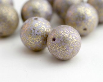 Vintage Lavender Gold Speckled Round Lucite Beads 14mm (8)