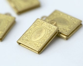 Vintage Style Raw Brass Book Lockets Etched Tooled Rectangle Lockets 18mm (4)