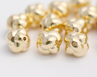 Vintage Gold Lucite Knot Bubble Beads 10mm (20)