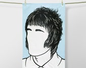 Liam Gallagher Tea Towel, Liam Gallagher Towel, Liam Gallagher Kitchen Towel, Liam Gallagher Merchandise, Blue Tea Towel, Blue Dishcloth