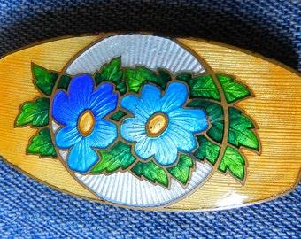 Art Nouveau Floral Enamel Pin Bright Blue Flower Yellow Ground