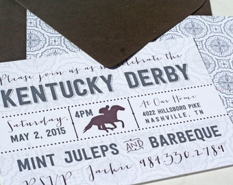 Kentucky Derby Fanfare, Set of 10 Party Invitations
