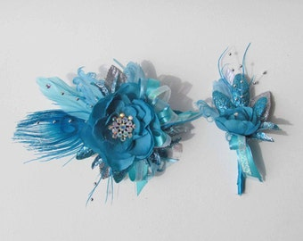 Gatsby Corsage in Turquoise, Teal & Silver with matching Boutonniere for your Prom... Ready to Ship!