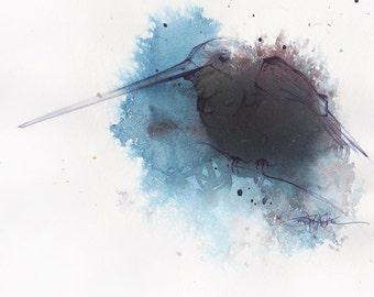 Blue Long Beak - ORIGINAL WATERCOLOR