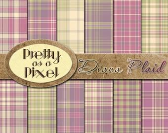 Printable Scrapbook Paper - Diana Plaid - 12 x 12 - Set of 12 - INSTANT DOWNLOAD