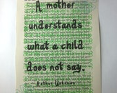 Mother print on a book page, A mother understand what a child does not say
