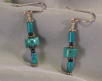 """Turquoise and Silver """"Rolling Pin"""" earrings"""