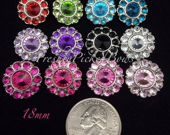 5 Acrylic Round Rhinestone buttons size 18mm U choose colors