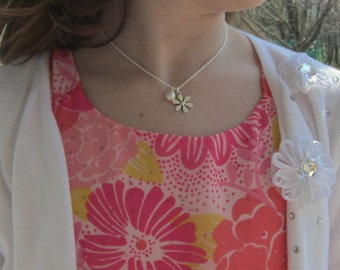 Flower Girl Necklace with Pearls Adjustable