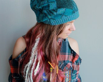 Blue Diamond Print Pattern Recycled Eco Friendly Hippie Sweater Slouchy Tam Hat Beanie By MountainGirlClothing