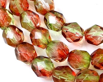 Firepolish Czech glass Faceted Round Beads Dual Coated - Peach/Pear 6mm (25 pc) (C177)