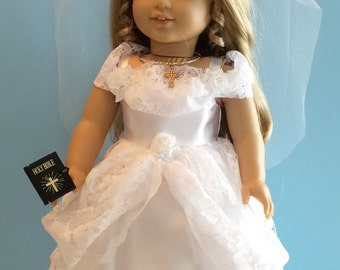 American Girl Doll Clothes - Priness First Communion Dress Set Includes Shoes, Jewelry and Bible - 18 Inch Doll Clothes