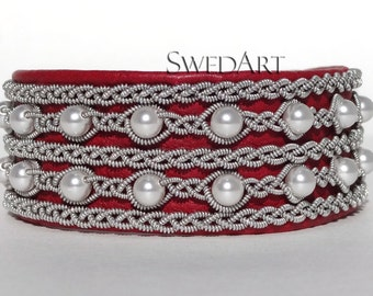 SwedArt B90 Victoria Swedish Sami Leather Bracelet with Pearls-Pewter/Silver Braid-Antler Button-Red SMALL