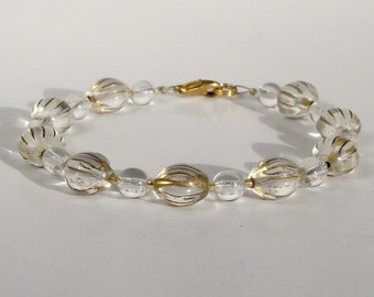 Gold and Clear Glass Beaded Bracelet - Clearance