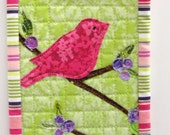 mini wall quilt-  pink bird on a leafy blueberry branch against green background- free shipping to USA - Ready to Ship