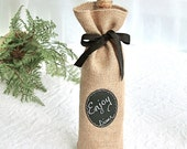 Wine Bottle Bags - Sets of 8 - 11 Burlap Wine Bottle Bags with Re-Useable Chalkboard Label