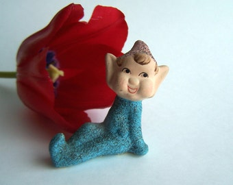 Vintage Collectible Glittered Pixie in Blue with Original price tag , Japan export 1950s Dime Store Figurine