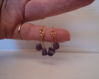 Amethyst stone handmade pierced earrings with gold hypo allergenic wires