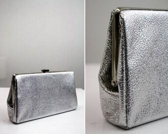 Silver Petite Hard Case Clutch Purse